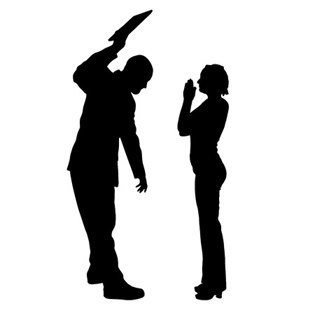 thresh: Vector silhouette of couple on a white background. Illustration