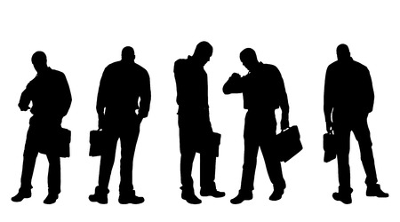 Vector silhouette of a man with a suitcase on a white background. Vector