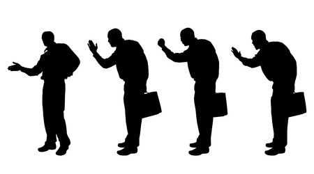 hassle: Vector silhouette of a man with a suitcase on a white background.