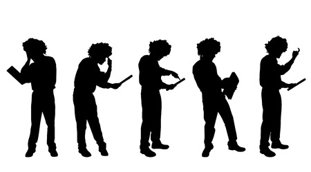 hassle: Vector silhouette of a man on a white background. Illustration
