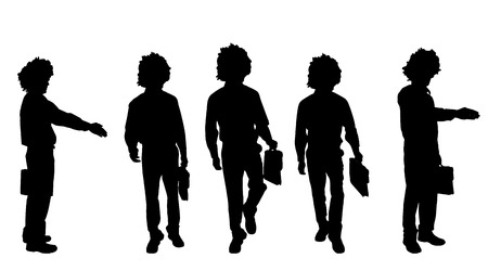 profesional: Vector silhouette of a man with a suitcase on a white background.