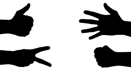 woman fist: Vector silhouettes of hands on a white background.