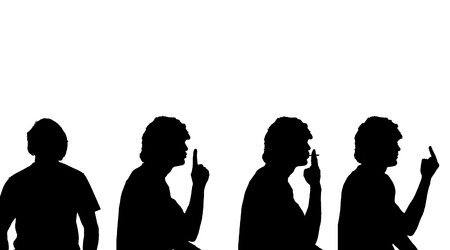 obscene gesture: Vector silhouette of a man in profile on a white background.