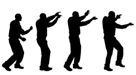 nice guy: Vector silhouette of a man who dances on a white background. Illustration