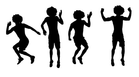 dancer silhouette: Vector silhouette of a man who jump on a white background.