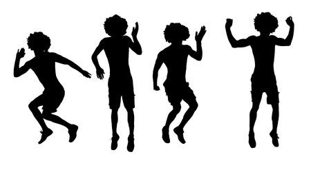 bailarines silueta: Vector silueta de un hombre que salta sobre un fondo blanco. Vectores