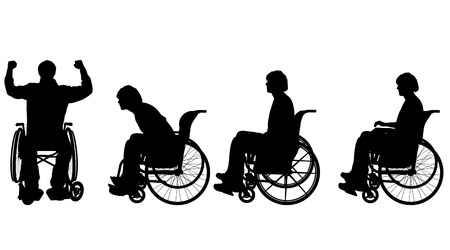 helplessness: Vector silhouette of a man in a wheelchair.