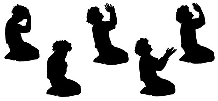 man begging: Vector silhouette of a man who begging.
