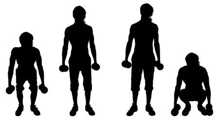 fortalecimiento: Vector silueta de un hombre que se entrena en el fondo blanco.
