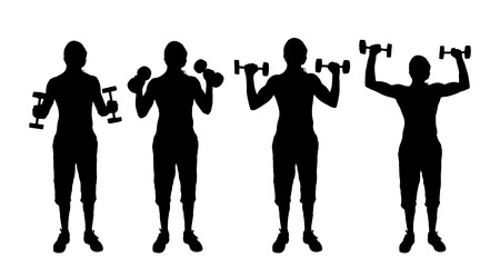 Vector silhouette of a man who trains on white background. Vector