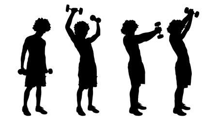 strengthening: Vector silhouette of a man who trains on white background.