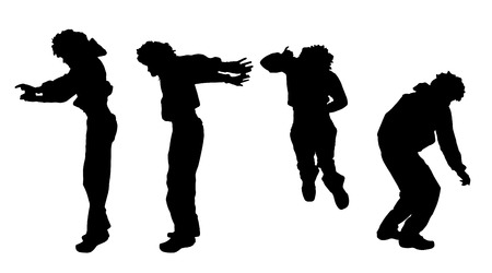 nice guy: Vector silhouette of a man who jump on a white background.