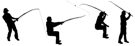 Vector silhouette of a man who fishes. Vector