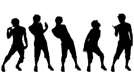 fag: Vector silhouette of a man who dances on a white background. Illustration