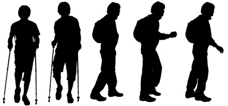 Vector silhouette of a man who walks with Nordic walking. Vector