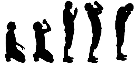 begging: Vector silhouette of a man who prays.