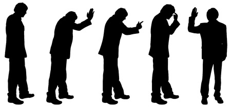 hassle: Vector silhouette of a man on white background. Illustration