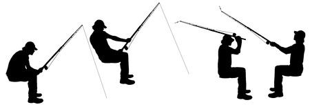 fisher man: Vector silhouette of a man who fishes.