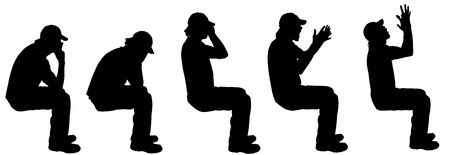 hassle: Vector silhouette of a man sitting on a white background. Illustration