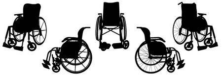 wheelchair: Vector silhouette of a wheelchair on a white background. Illustration