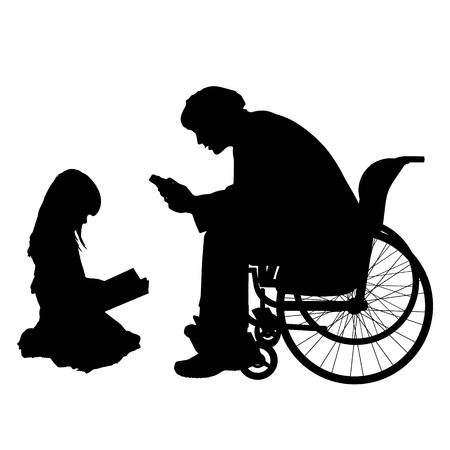 Vector silhouettes man who is in a wheelchair with a daughter. Vettoriali