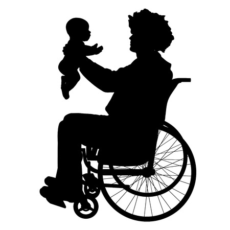 suckling: Vector silhouettes man who is in a wheelchair with a baby.