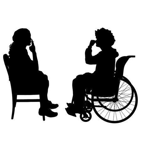 stench: Vector silhouettes man who is in a wheelchair with a friend.
