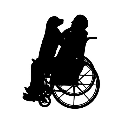 dog wheelchair: Vector silhouettes man who is in a wheelchair with a dog.