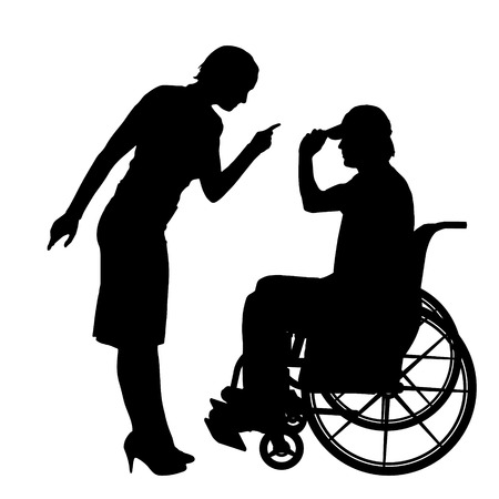 hassle: Vector silhouettes man who is in a wheelchair with a girl.
