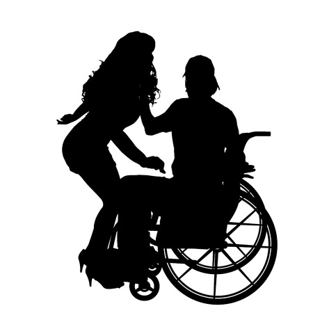 striptease: Vector silhouettes man who is in a wheelchair with a girl.