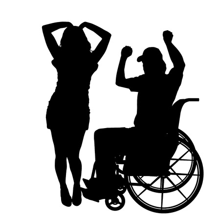 dancing girl: Vector silhouettes man who is in a wheelchair with a girl.