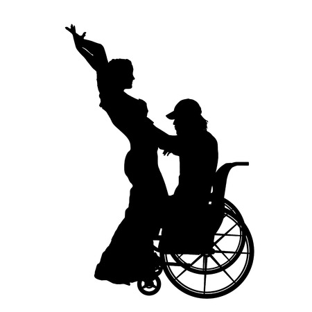 Vector silhouettes man who is in a wheelchair with a girl. Vector