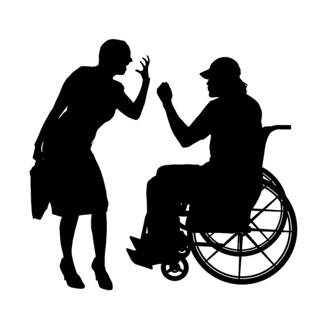 ire: Vector silhouettes man who is in a wheelchair with a girl.