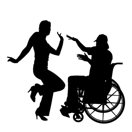 Vector silhouettes man who is in a wheelchair with a girl.