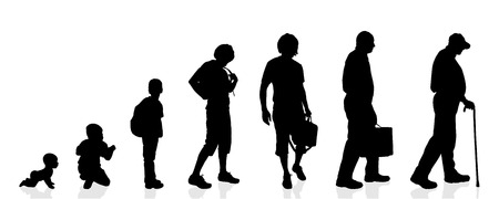 disabled seniors: Vector silhouette generation men on a white background.
