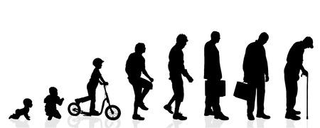 generace: Vektorové silueta generace mužů na bílém pozadí. Ilustrace