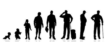 白の背景にベクトル シルエット世代男性。  イラスト・ベクター素材
