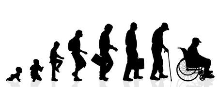 vecchiaia: Uomini Vector silhouette generazione su uno sfondo bianco.