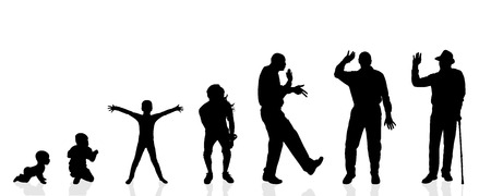 generation: Vector silhouette generation men on a white background.
