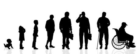 Vector silhouet generatie mannen op een witte achtergrond.