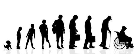 白い背景の上のベクトル シルエット世代男性。