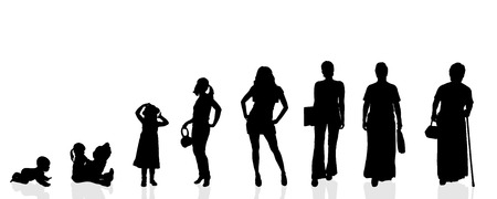 Vector silhouette generation women on a white background. Stock Illustratie