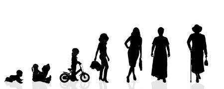 human evolution: Vector silhouette generation women on a white background. Illustration