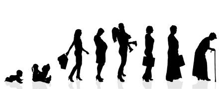 Vector silhouet generatie vrouwen op een witte achtergrond. Stock Illustratie