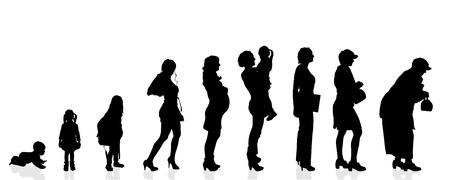 白い背景の上のベクトル シルエット世代女性。