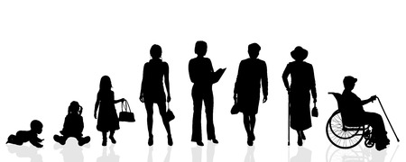 silhouette woman: Vector silhouette generation women on a white background. Illustration