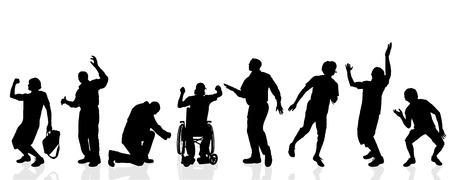 Vector silhouetten van verschillende mannen op een witte achtergrond.