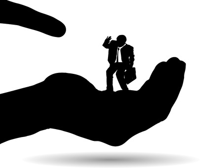 trickster: Vector silhouette of a businessman on palm on white background. Illustration