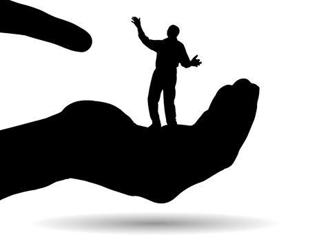 trickster: Vector silhouette of a man on palm on white background.