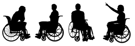 Vector silhouette of a woman who is in a wheelchair.